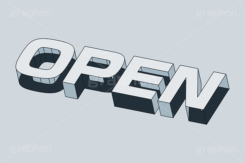 OPEN,オープン,開店,開く,お店,テキスト,文字,3D,3D文字,立体,見出し,文言,ポップ,広告,宣伝,ポスター,チラシ,強調,アピール,プロモーション,メッセージ,販促,店舗,斜め,アイソメトリック,デザイン,イラスト,モノクロ,illustration,isometric,text,pop,appeal,poster,promotion,message,shop